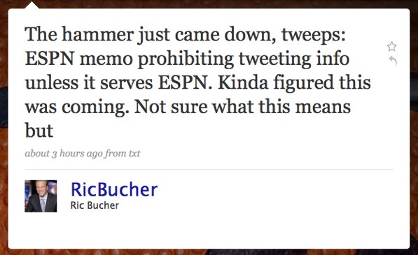 "Ric Bucher lets the world know the ""world wide leader"" is against free speech."