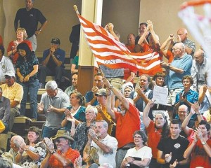 The crowd at Rep. Tom McClintock's town hall meeting in Grass Valley Friday night was vocal and resolute. Photo for The Union by John Hart.